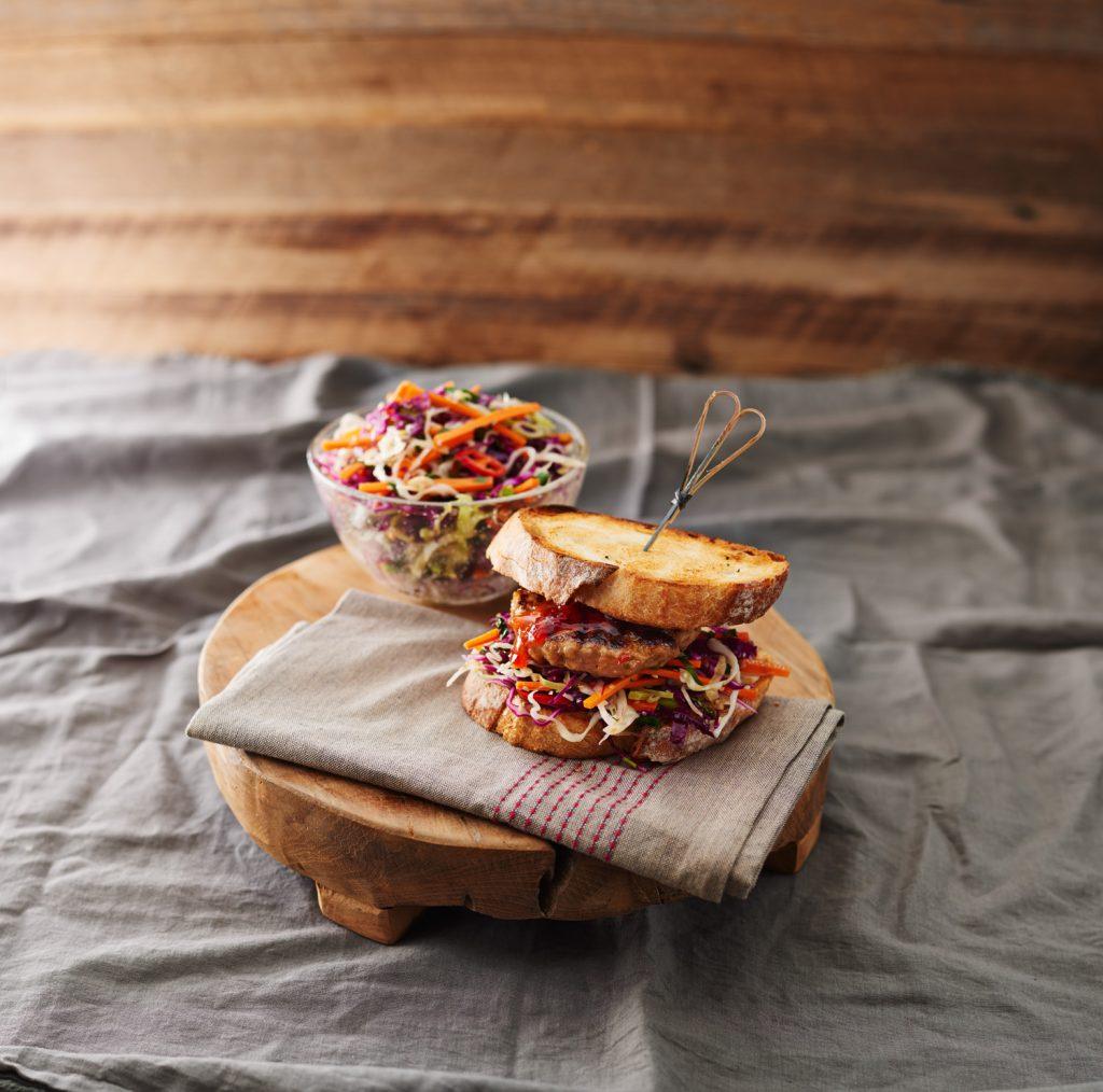 Peanut butter pork burger